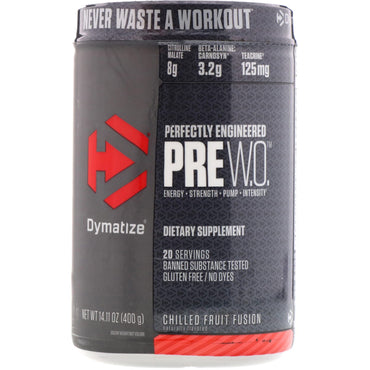 Dymatize Nutrition, Pre W.O., Chilled Fruit Fusion, 14.11 oz (400 g)