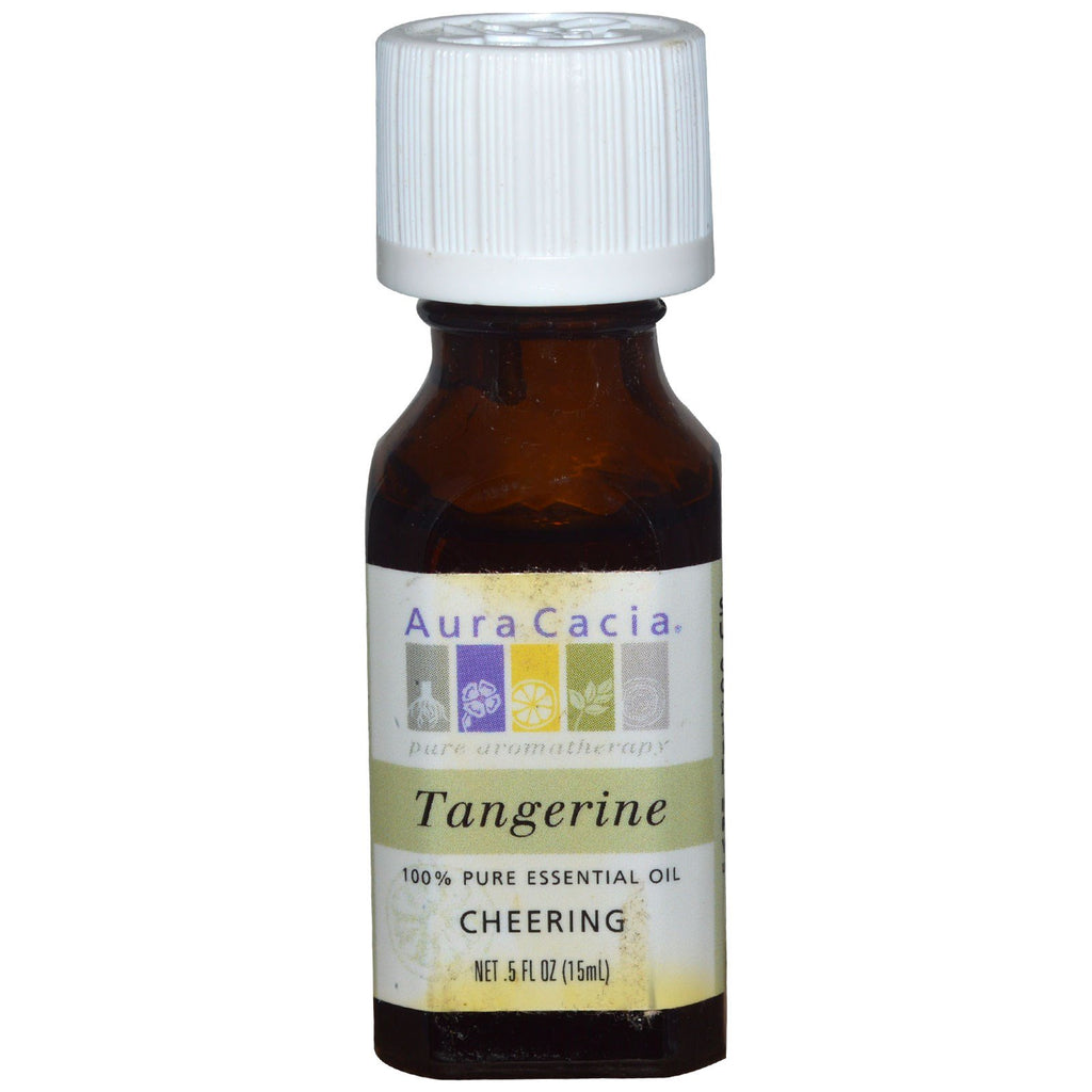Aura Cacia, 100% Pure Essential Oil, Tangerine, Cheering, .5 fl oz (15 ml)