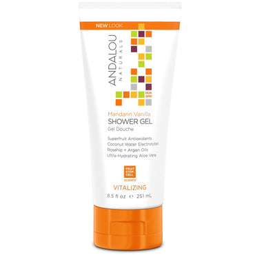 Andalou Naturals, Shower Gel, Mandarin Vanilla, Vitalizing, 8.5 fl oz (251 ml)