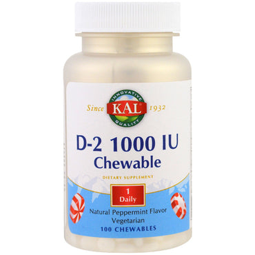 KAL, D2, Natural Peppermint Flavor, 1000 IU, 100 Chewables