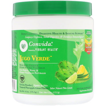 Vibrant Health, Convida Jugo Verde, Greens Powder, Natural Pineapple-Lime Flavor, 6.2 oz (175.5 g)