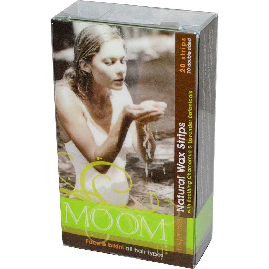 Moom, Natural Wax Strips, with Soothing Chamomile & Lavender Botanicals, 20 Strips