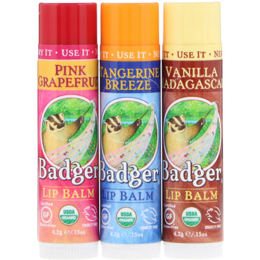 Badger Company Lip Balm Gift Set Red Box 3 Pack .15 oz (4.2 g) Each