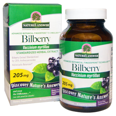Nature's Answer, Bilberry, Standardized Herbal Extract, 205 mg, 90 Vegetarian Capsules
