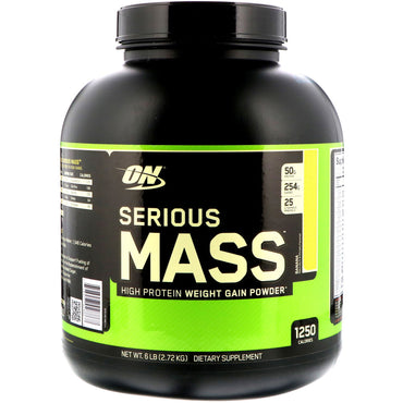 Optimum Nutrition, Serious Mass, High Protein Weight Gain Powder, Banana, 6 lb (2.72 kg)