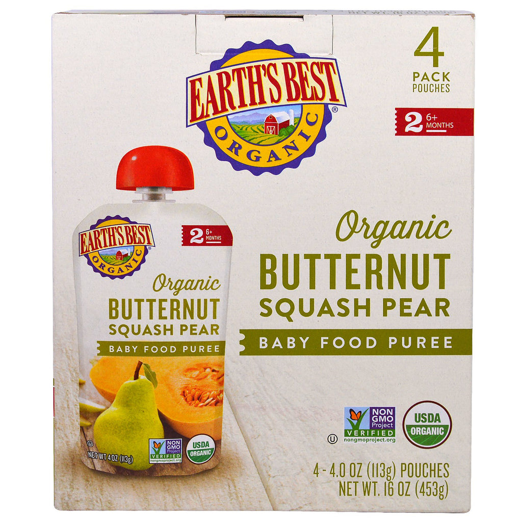 Earth's Best Organic Butternut Squash Pear Baby Food Puree 6+ Months 4 Pouches 4.0 oz (113 g) Each