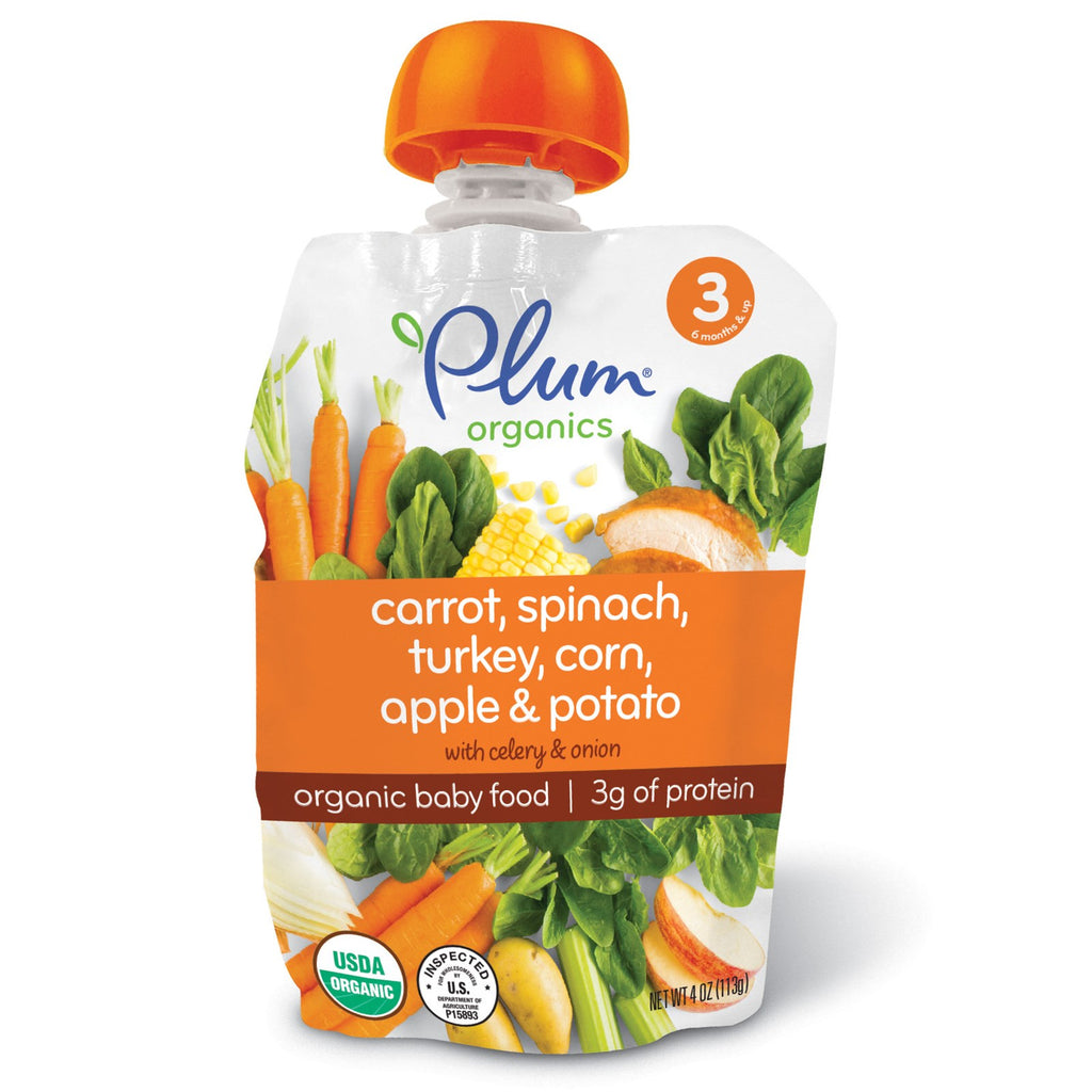 Plum Organics Organic Baby Food Stage 3 Carrot Spinach Turkey Corn Apple & Potato 4 oz (113 g)