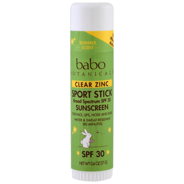 Babo Botanicals Clear Zinc Sunscreen Sport Stick SPF 30 0.6 oz (17 g)
