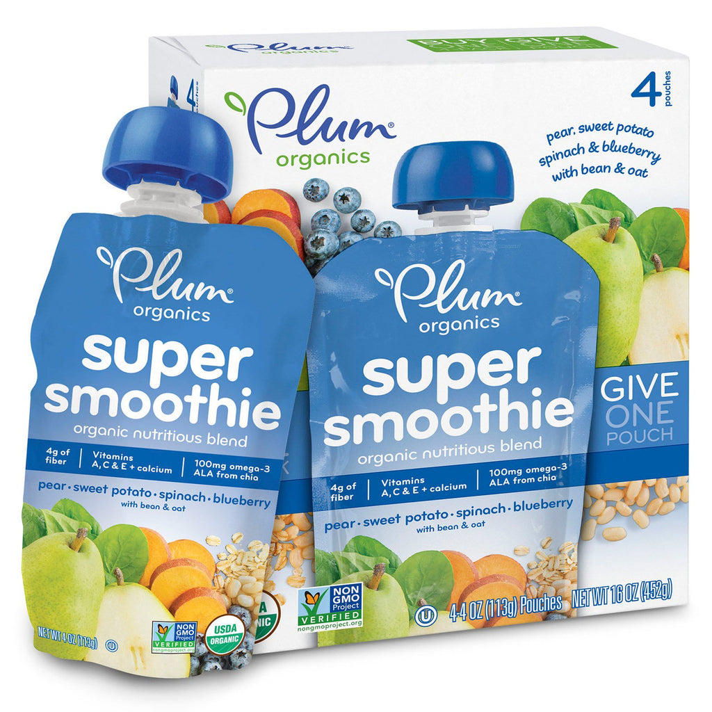 Plum Organics Super Smoothie Pear Sweet Potato Spinach Blueberry with Bean & Oat 4 Pouches 4 oz (113 g) Each