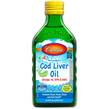 Carlson Labs, Kid's, Norwegian Cod Liver Oil, Natural Lemon Flavor, 8.4 fl oz (250 ml)