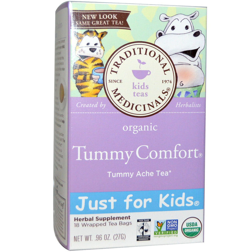 Traditional Medicinals Just for Kids Organic Tummy Comfort Naturally Caffeine Free Herbal Tea 18 Wrapped Tea Bags .96 oz (27 g)