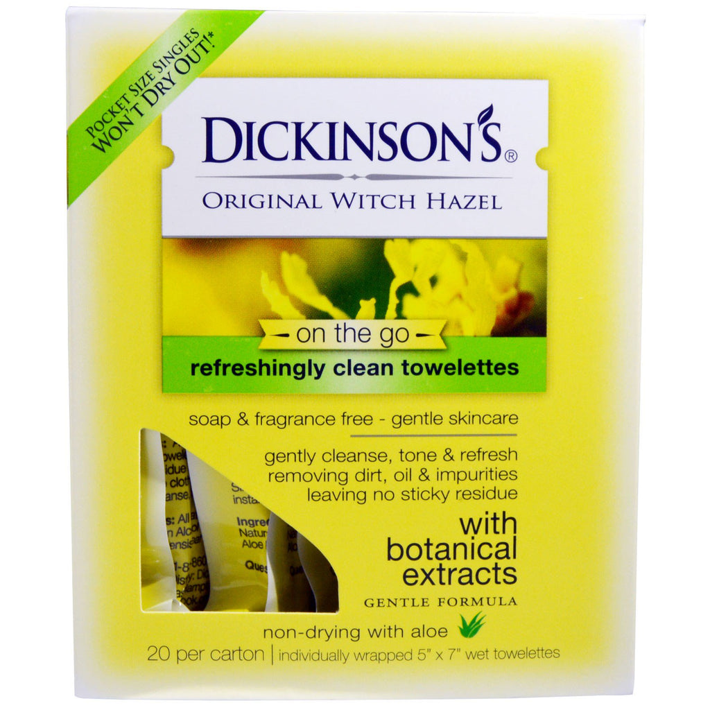 "Dickinson Brands, Original Witch Hazel On the Go, Refreshingly Clean Towelettes, 20 Per Carton, 5"" x 7"" Each"