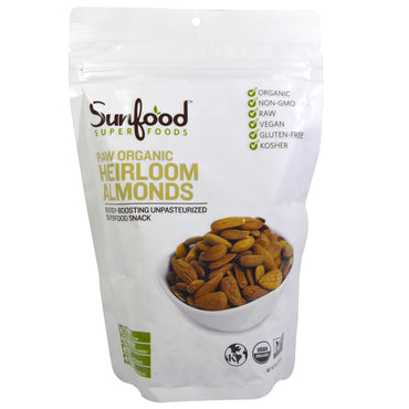 Sunfood, RAW Organic, Heirloom Almonds, 8 oz (227 g)