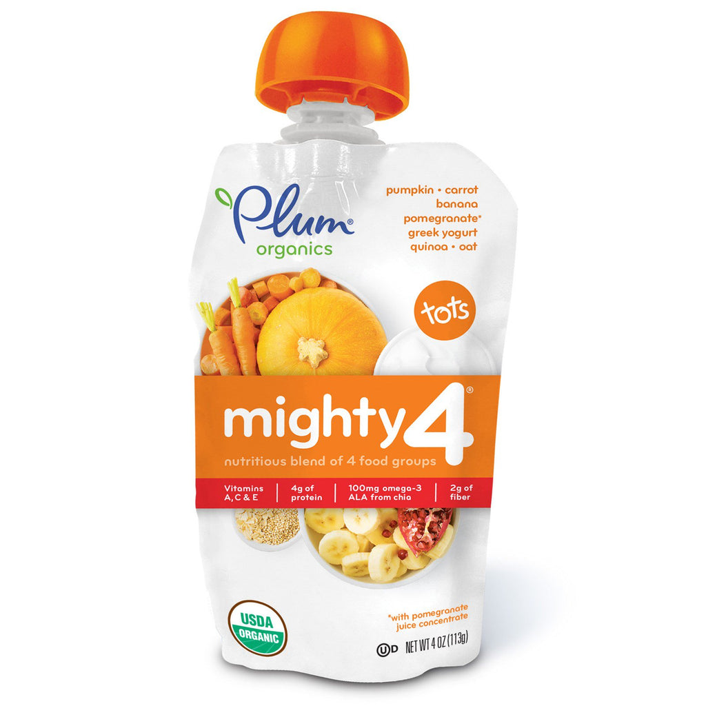 Plum Organics Tots Mighty 4 Nutritious Blend of 4 Food Groups Pumpkin Carrot Banana Pomegranate Greek Yogurt Quinoa & Oat 4 oz (113 g)