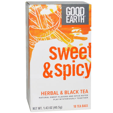 Good Earth Teas, Sweet & Spicy, Herbal & Black Tea, 18 Tea Bags, 1.43 oz (40.5 g)