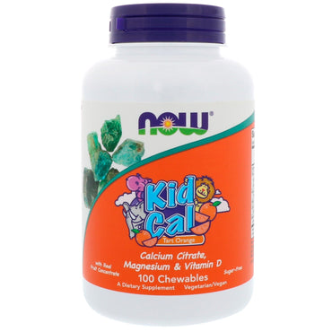 Now Foods, Kid Cal, Tart Orange, 100 Chewables