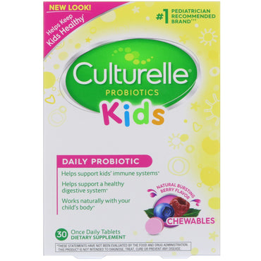 Culturelle, Kids Chewables Probiotics, Natural Bursting Berry Flavor, 30 Tablets