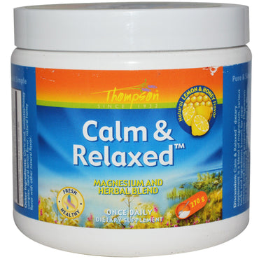 Thompson, Calm & Relaxed, Natural Lemon & Honey Flavor, 270 g