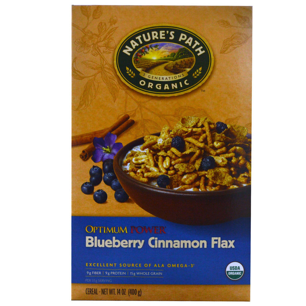 Nature's Path, Organic Optimum Power Cereal, Blueberry Cinnamon Flax, 14 oz (400 g)