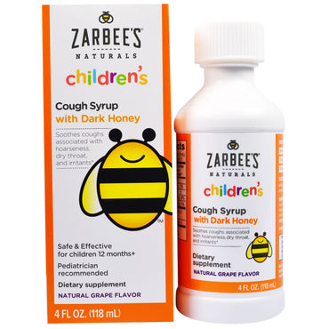 Zarbee's Children's Cough Syrup with Dark Honey Natural Grape Flavor 4 fl oz (118 ml)