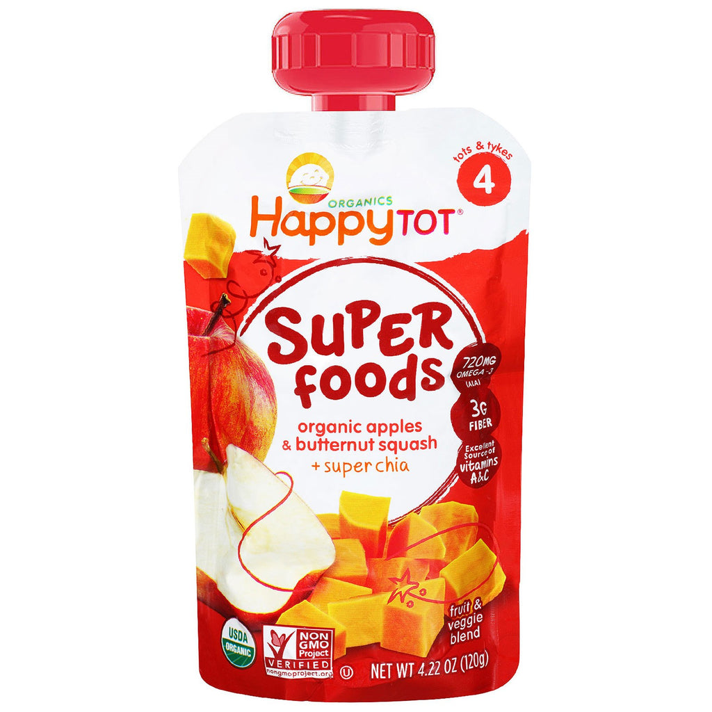 Nurture Inc. (Happy Baby) Organic Superfoods Apples & Butternut Squash + Super Chia 4.22 oz (120 g)