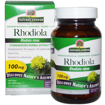 Nature's Answer, Rhodiola Rosea, 100 mg, 60 Vegetarian Capsules