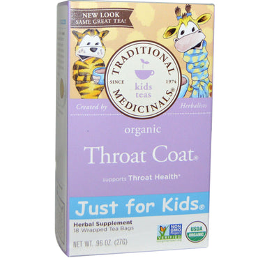 Traditional Medicinals Just for Kids Organic Throat Coat Naturally Caffeine Free Herbal Tea 18 Wrapped Tea Bags .96 oz (27 g)