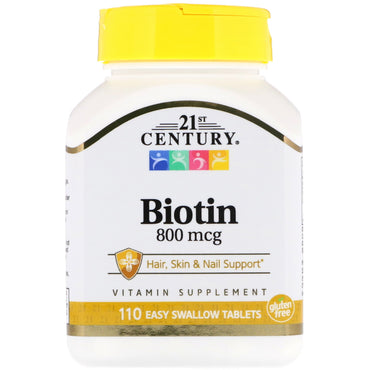 21st Century, Biotin, 800 mcg, 110 Easy Swallow Tablets