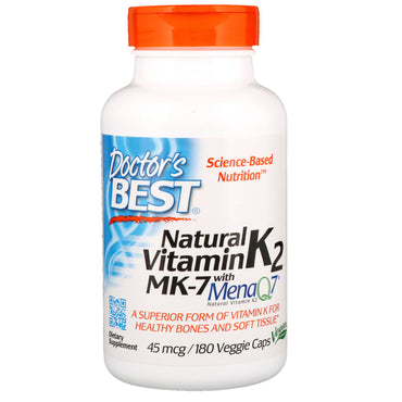 Doctor's Best, Natural Vitamin K2 MK-7 with MenaQ7, 45 mcg, 180 Veggie Caps