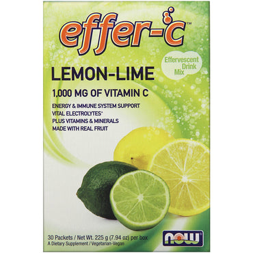 Now Foods, Effer-C, Effervescent Drink Mix, Lemon-Lime, 30 Packets, (7.5 g) Each