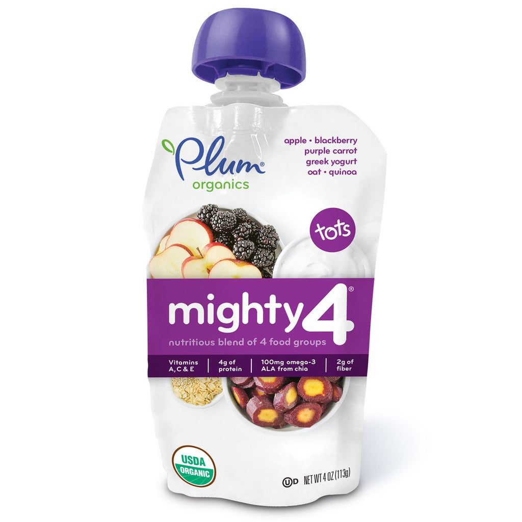 Plum Organics Tots Mighty 4 Nutritious Blend of 4 Food Groups Apple Blackberry Purple Carrot Greek Yogurt Oat & Quinoa 4 oz (113 g)