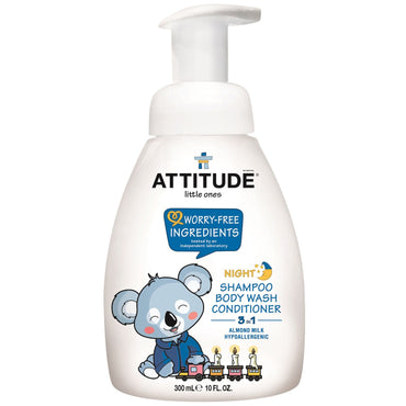 ATTITUDE, Little Ones, 3 in 1 Shampoo, Body Wash, Conditioner, Night, Almond Milk, 10 fl oz (300 ml)