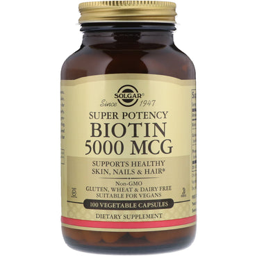 Solgar, Biotin, 5000 mcg, 100 Vegetable Capsules