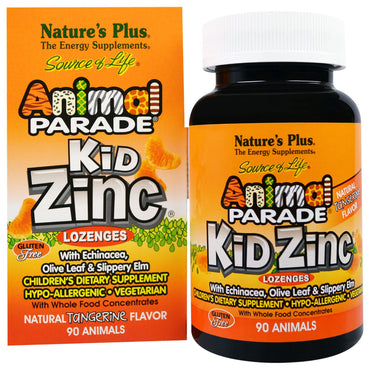 Nature's Plus, Source of Life, Animal Parade, Kid Zinc Lozenges, Natural Tangerine Flavor, 90 Animals