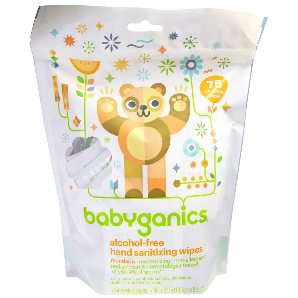 BabyGanics Hand Sanitizing Wipes Alcohol Free Mandarin 75 On-the-Go Wipes