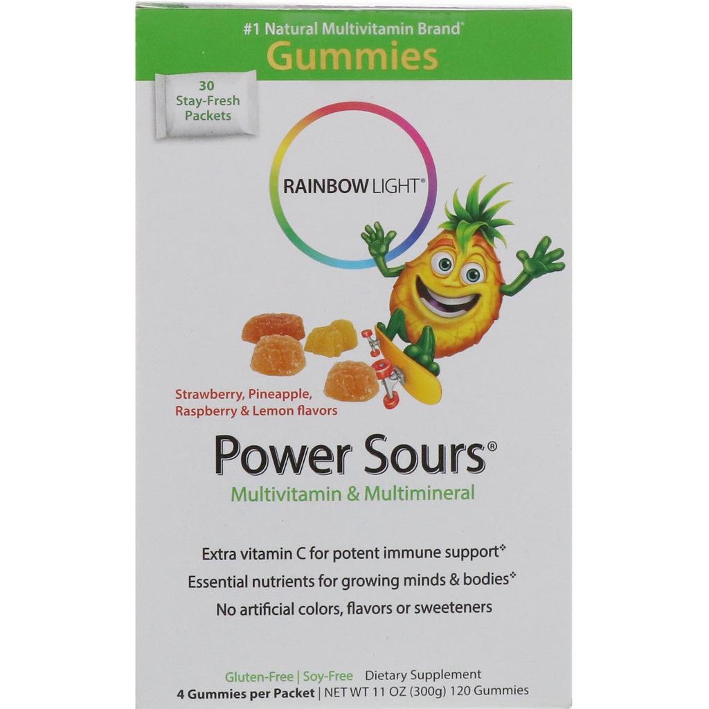 Rainbow Light, Gummy Power Sours, Multivitamin & Multimineral, Strawberry, Pineapple, Raspberry & Lemon Flavors, 30 Packets, (4 Gummies) Each
