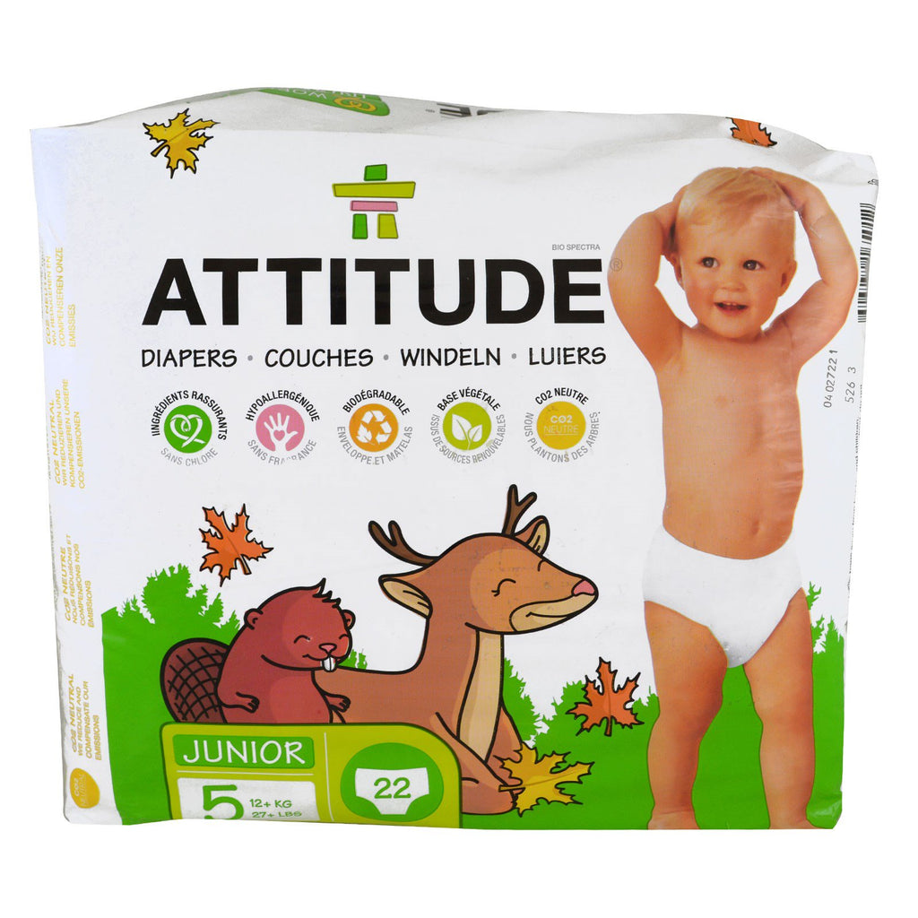 ATTITUDE, Diapers, Junior, Size 5, 27+ lbs (12+ kg), 22 Diapers