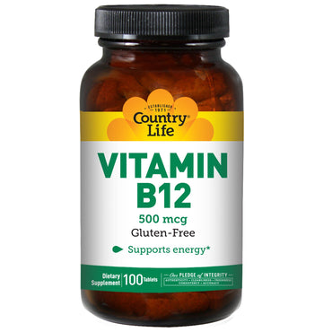 Country Life, Vitamin B12, 500 mcg, 100 Tablets