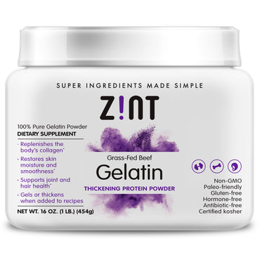 Zint Grass-Fed Beef Gelatin Thickening Protein Powder 16 oz (454 g)