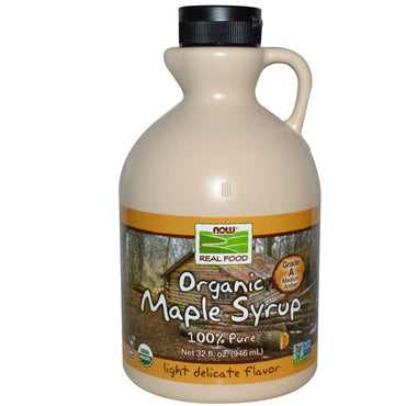 Now Foods, Real Food, Organic Maple Syrup, Grade A, Medium Amber, 32 fl oz (946 ml)