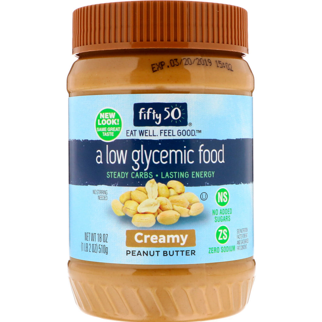Fifty 50, Low Glycemic Peanut Butter, Creamy, 18 oz (510 g)
