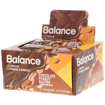 Balance Bar Nutrition Bar Chocolate Peanut Butter 6 Bars 1.76 oz (50 g) Each