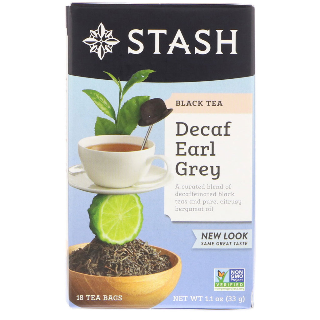 Stash Tea, Black Tea, Decaf Earl Grey, 18 Tea Bags, 1.1 oz (33 g)