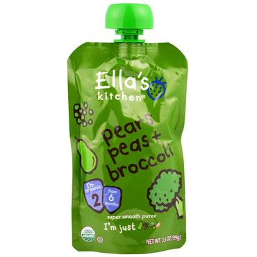 Ella's Kitchen Super Smooth Puree Pears Peas + Broccoli 3.5 oz (99 g)