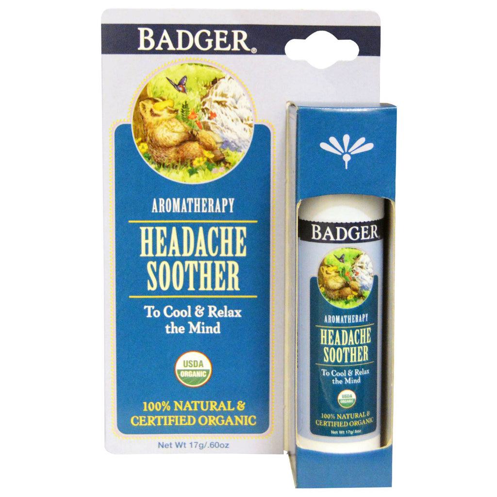 Badger Company, Headache Soother, Peppermint & Lavender, .60 oz (17 g)