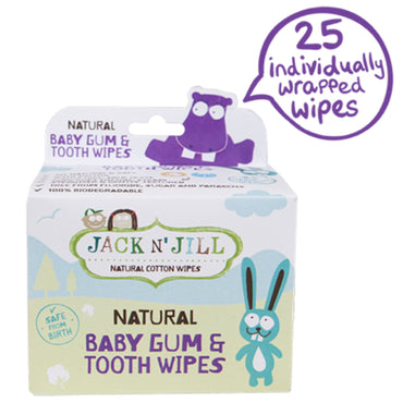 Jack n' Jill, Natural Baby Gum & Tooth Wipes, 25 Individually Wrapped Wipes