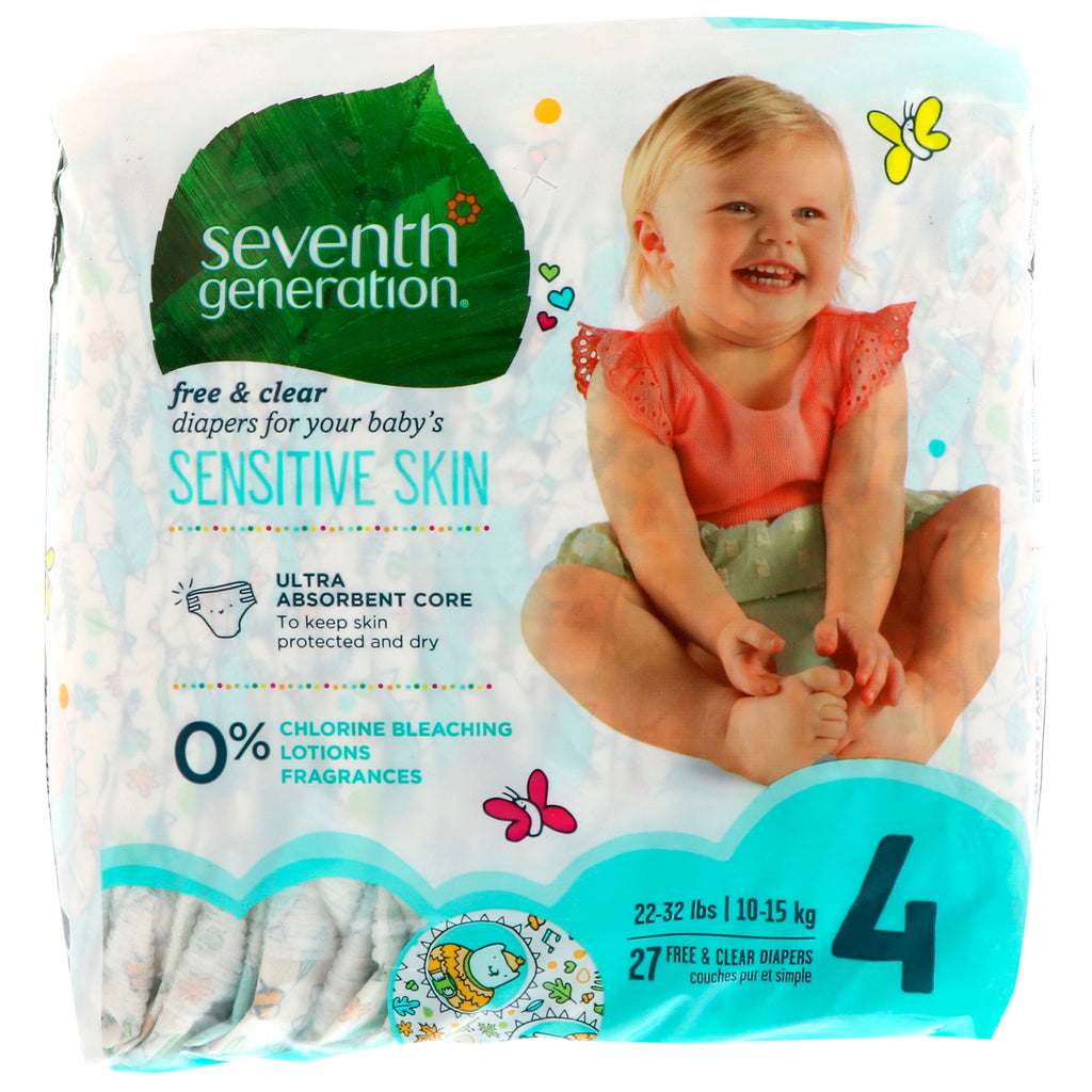 Seventh Generation, Baby, Free & Clear Diapers, Size 4, 22-32 Pounds (10-15 kg), 27 Diapers