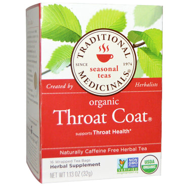 Traditional Medicinals, Seasonal Teas, Organic Throat Coat, Naturally Caffeine Free, 16 Wrapped Tea Bags, 1.13 oz (32 g)