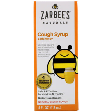 Zarbee's Children's Cough Syrup with Dark Honey Natural Cherry Flavor 4 fl oz (118 ml)