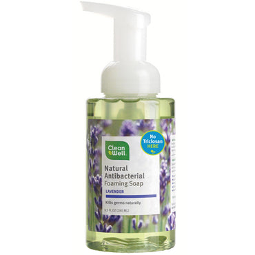 Clean Well, Natural Antibacterial Foaming Soap, Lavender, 9.5 fl oz (280 ml)